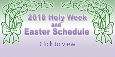 2018 Easter Schedule